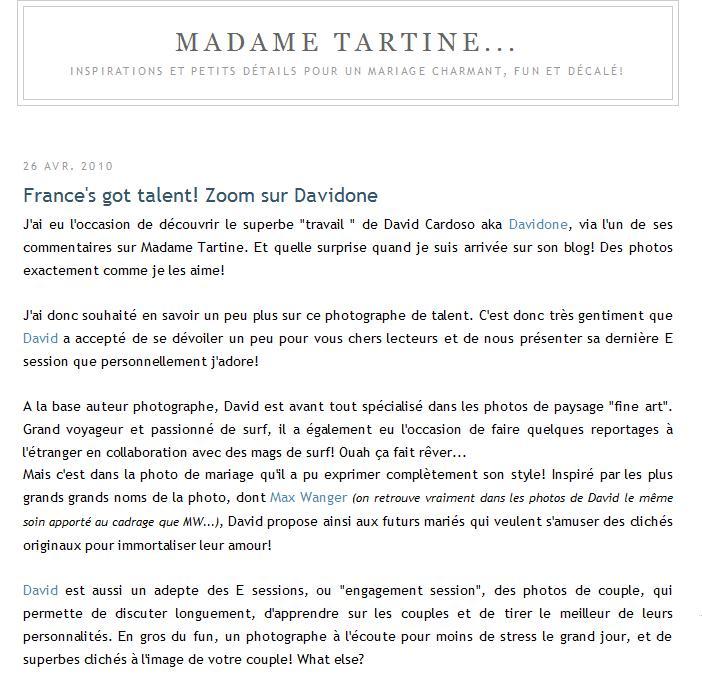 """Le photographe Davidone présenté sur le blog mariage """"Madame Tartine"""""""